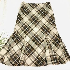 dressbarn plaid long modest skirt ruffle hem sz 12